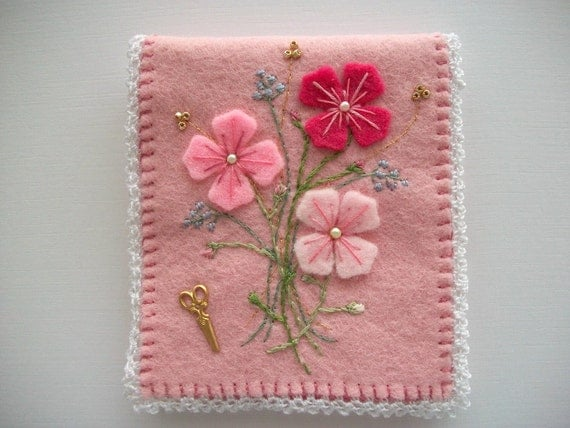 Needle Book Pink Felt with Felt Flowers and Embroidery Crochet Lace Border Handsewn