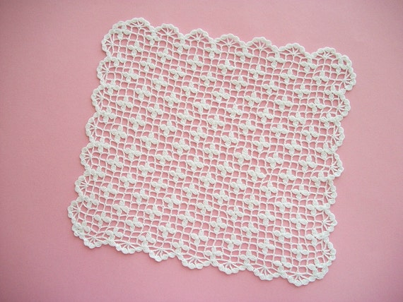 Lace Pocket Square Crochet Rectangle Doily One of a Kind Heirloom Quality