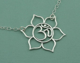 Sterling Silver Om Necklace - om jewelry - yoga necklace - handmade jewelry, lotus flower