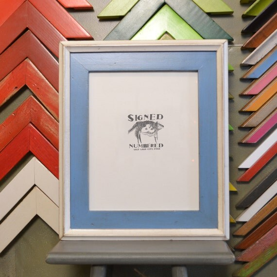 8x10 Picture Frame with Vintage Blue Finish in Vintage White Double Cove Build Up - SAME DAY SHIPPING