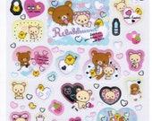 San-X Rilakkuma Bear Sticker Sheet - Bath & Hearts Theme - 2