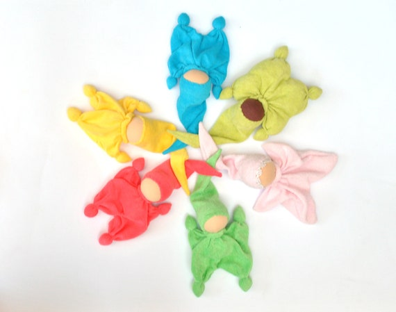baby shower gifts teething waldorf doll for baby  orange yellow lime green blue water purple magenta