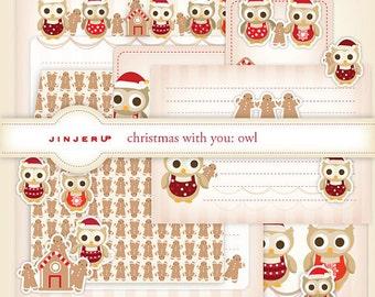 Christmas with you Owl Stationery - Printable PDF