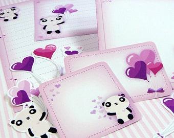 Kawaii True Love Panda Stationery Cute Valentine's Day Easter Love Birthday Party Invite Card Printable PDF