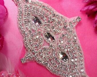 """XR159 Bridal Sash Silver Beaded Crystal Rhinestone Applique 7.5"""" XR159-slcr"""
