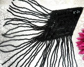 "XR198 Black Dangle Sequin Beaded Applique 10"" (XR198-bk)"
