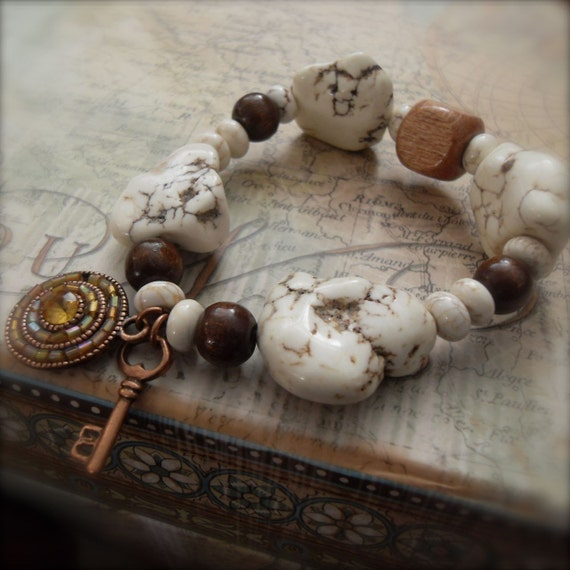 Stretch Bracelet Howlite Stone Bracelet Wood Bead Healing Energy Jewelry - Tranquility