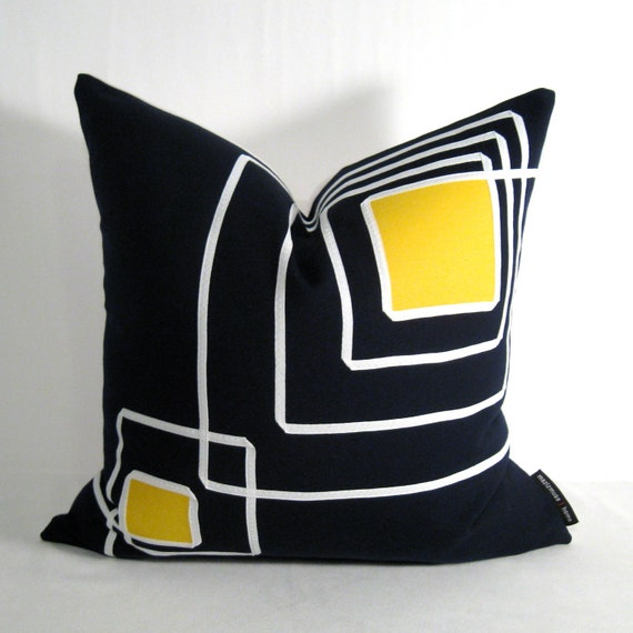 Mid Century Outdoor Pillows : Items similar to SALE - Navy Blue Pillow Cover - Decorative Yellow Blue Outdoor Pillow ...