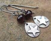 Birthstone Dangle Earrings Garnet Gemstone and PMC Fine Silver Teardrop Stars with Sterling Silver Ear Hooks