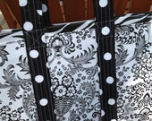 Sophisticated and hip black and white toile and zebra oilcloth tote bag