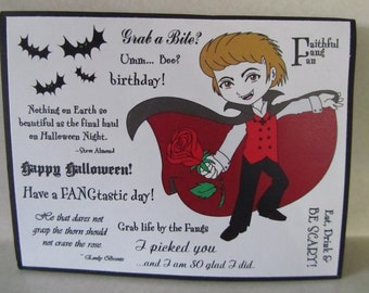 Vampire Halloween Henry cling rubber stamp set 13 stamps