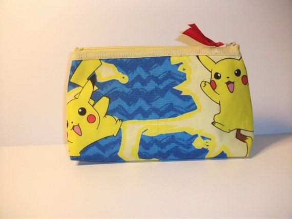Pikachu-Pokemon   Fabric Make-up Bag / Pouch -- Handmade