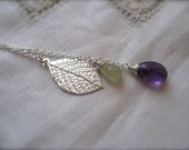 Silver leaf Lariat with Amethyst and Prehnite, bridesmaid gift