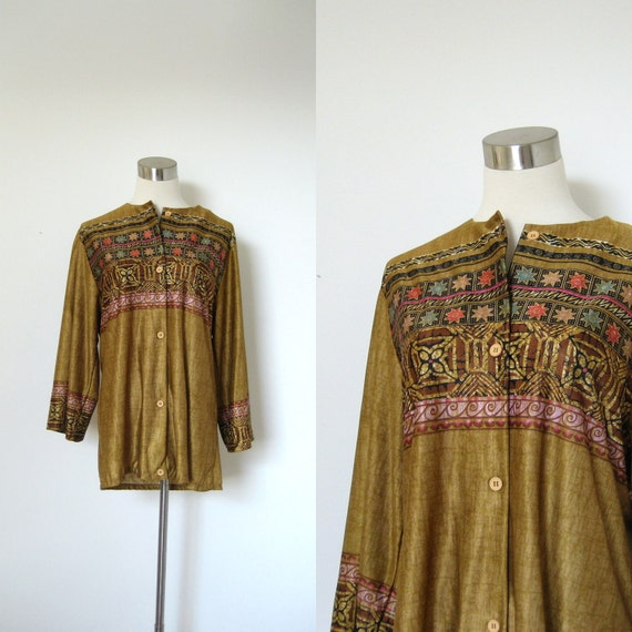 1970s Blouse / 70s Tribal Stripe Button Up Shirt / Long Sleeve (large L)