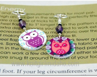 Owl Charm Stitch Markers (Set of 2)