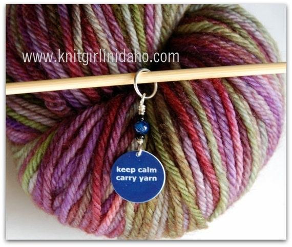 Keep Calm Carry Yarn Charm Stitch Marker (Dark Blue)