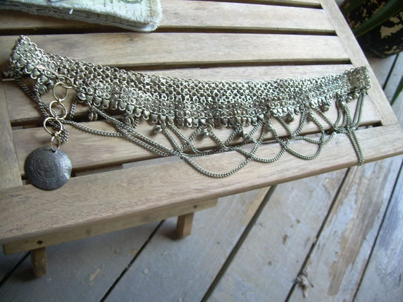 Vintage Gypsy Talisman silver belly dancing belt with ornate declarative detail and J style clasp