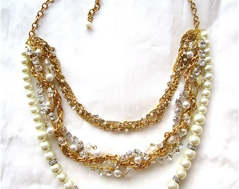 Gold & Pearl Statement Necklace Bridal Bib with Rhinestones Hollywood Glam Bridal- Triple Decker Dream in Gold