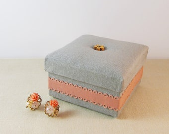 Cottage Chic Fabric Covered Gift Box in Gray Linen