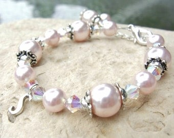 Flower Girl First Communion Confirmation Sterling Initial Swarovski Pearl and Crystal Bracelet in Antique Silver B151