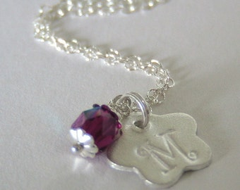 Flower Girl Initial Necklace in Fine Silver and Sterling Silver N052