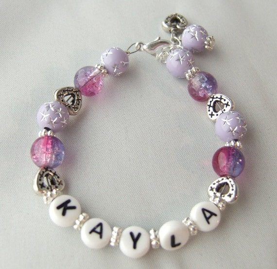 Personalized Bracelet in Pink and Purple with Hearts B116