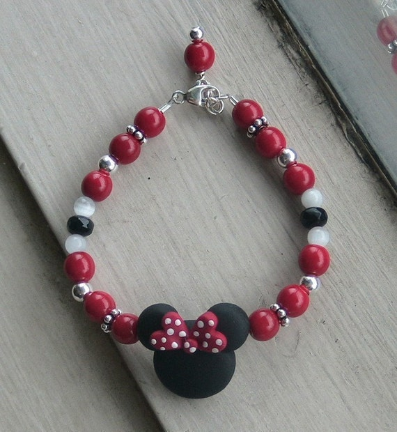 Red and Black Mouse Ears Bracelet STERLING SILVER B058