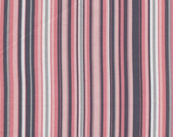 Clown Stripe Fabric Michael Miller Blossom Play Stripes Pink Gray Grey White