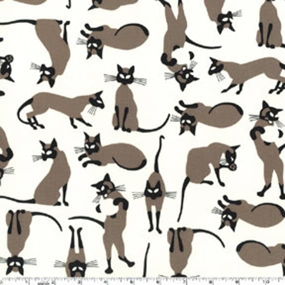 OOP HTF 27 inches Michael Miller We Are Siamese Fabric Tossed Brown and Black Cats on Cream Ivory