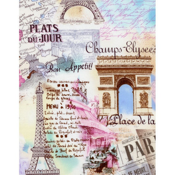 TT Post Card of Paris France Fabric Attractions Eiffel Tower Pastel Colors and Map