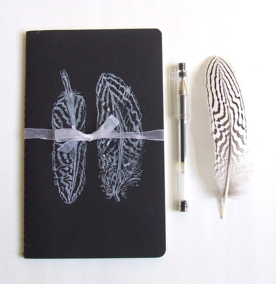 Feathers Notebook Gocco Printed Large Moleskine Cahier Notebook in Gray and White