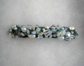 Amazonite, Opalized glass and Pearl Wire Crochet Barrette