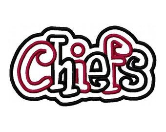 Chiefs 2 color Embroidery Machine Double Applique Design 2771