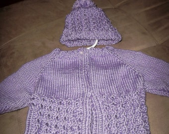 New born hand knitted baby girl clothes sweater and hat newborn set photography