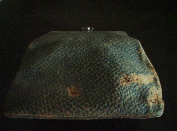 Antique, Vintage, Leather Purse Handbag- Tattered, Shabby with Fantastic Patina