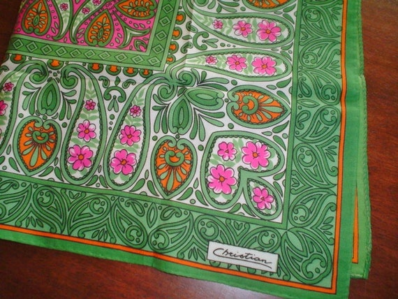 Vintage Scarf by Christian - Green, Orange and Pink Flowers - 1970s