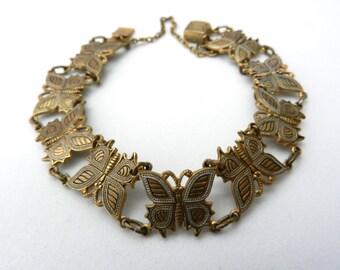 Vintage 1950s Toledo damascene bracelet, antique gold butterflies -exquisite jewel -Art.698/2 -