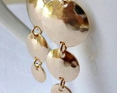 Gold Disc Earrings - 14K Goldfilled - Triple Disc Earrings