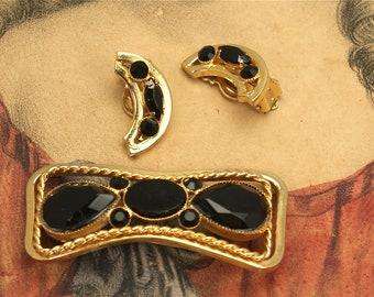 Vintage Black Glass Bow Pin Set
