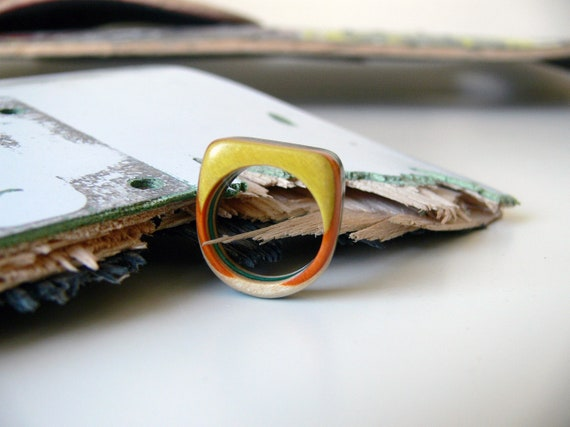 Recycled Skateboard Ready to Rock Size 8 1/2 Wood Ring Multicolor  - Yellow, Orange, Green and Black