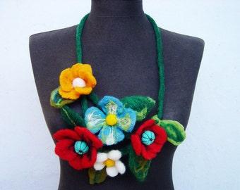 felt necklace summer flowers, fiber art needle felted necklace