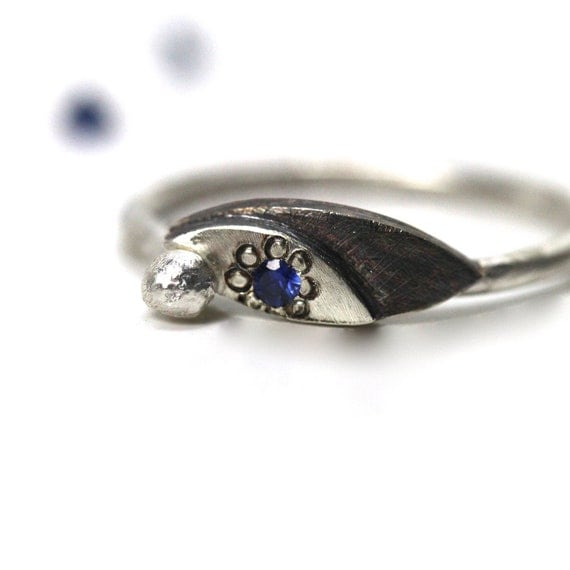 Delicate Blue Sapphire Silver Ring - Twinkle Blue