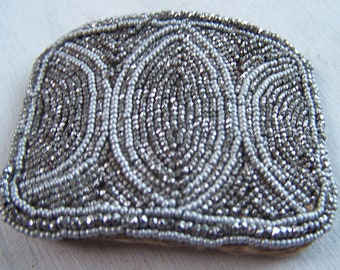 Antique French Steel beaded  Clip  Art Deco Cut  Steel Beads