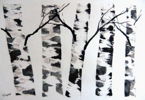 "Original Watercolor Painting- Birch Tree Painting ""Skeleton Birches"""