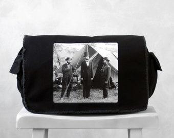 Abraham Lincoln - Messenger Bag - Vintage Photograph at Antietam- School Bag - Black - Canvas Bag