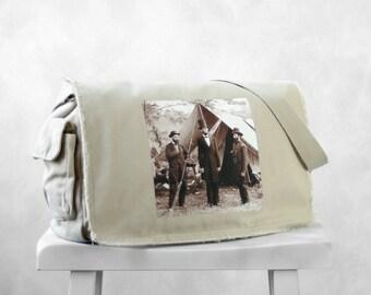 Abraham Lincoln - Messenger Bag - Vintage Photograph at Antietam- School Bag - Stone - Canvas Bag