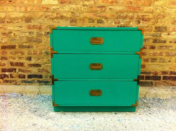 Vintage Campaign Dresser In Festive Green