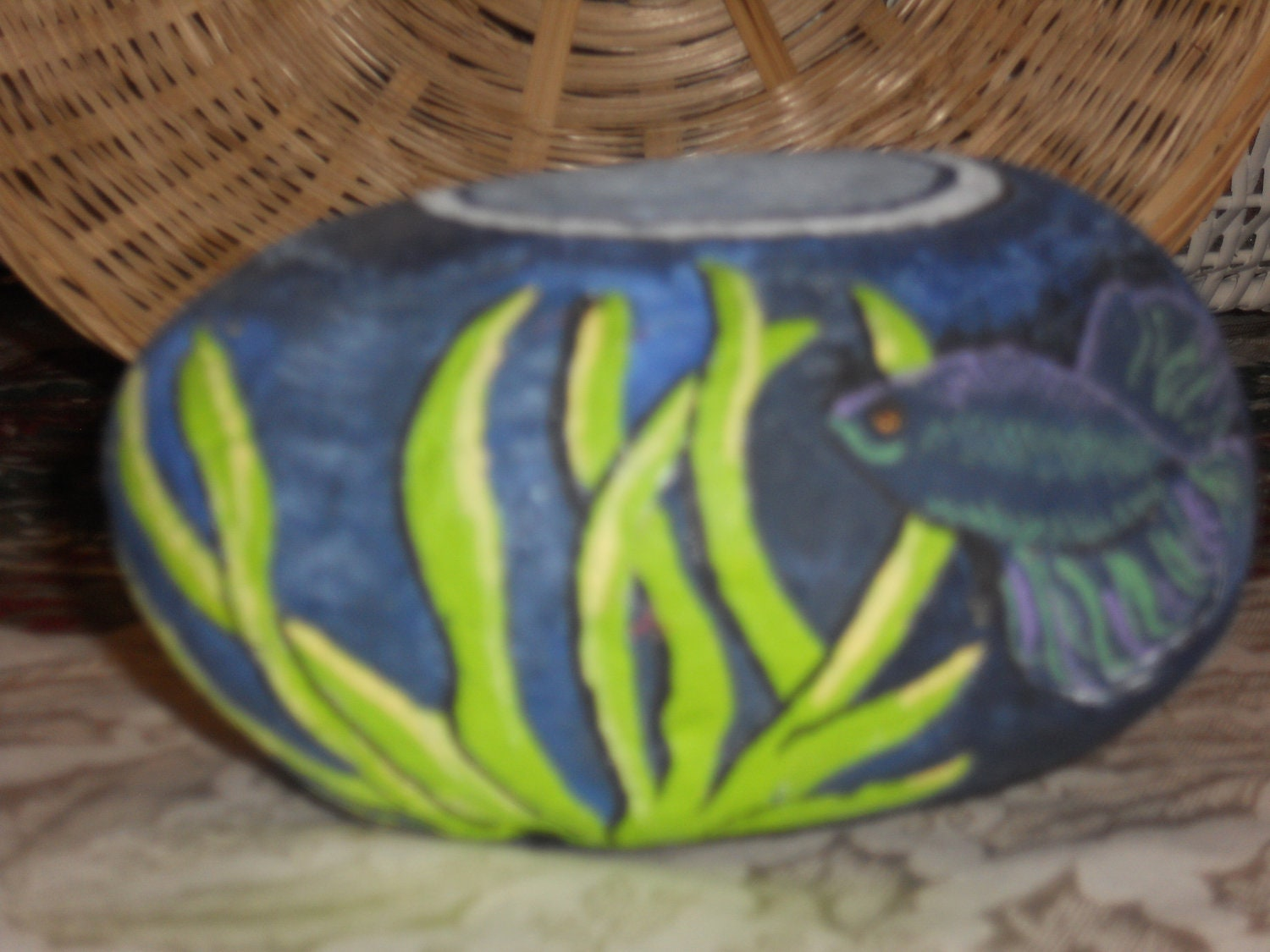 Acrylic painted rock art titled beta fish bowl for Fish bowl rocks