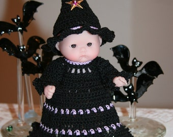 PDF PATTERN Crochet 5 inch Berenguer Baby Doll Halloween Witch with Tall Pointed Hat
