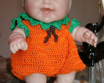 PDF PATTERN Crochet 8 8.5 inch Berenguer LC Doll Thread Halloween Pumpkin Set